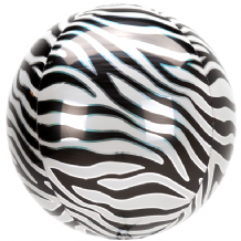 "Animalz Balloon - Animalz Zebra Print Orbz (15"") 1pc"